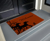 red and black equestrian door mat