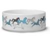 Blue Galloping Horses Pet Bowl