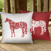 Reversible Red and White Country Floral Horse Pillow