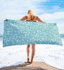 Teal Blue Snaffle Bit Pattern Horse Lover Beach Towel
