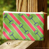 pink and green ribbon dee ring bit patterned accessory pouch