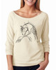 Horse Head Sketch 3/4 Sleeve Women's Raglan