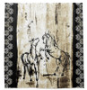 Rustic Rearing Horses Equestrian Shower Curtain