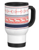 Coral and Navy Trotting Horses and Bits Equestrian Travel Mug