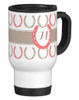 Monogram Equestrian Travel Mug with Horse Shoes.