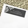 Chalkboard damask patterned rustic wedding return address labels