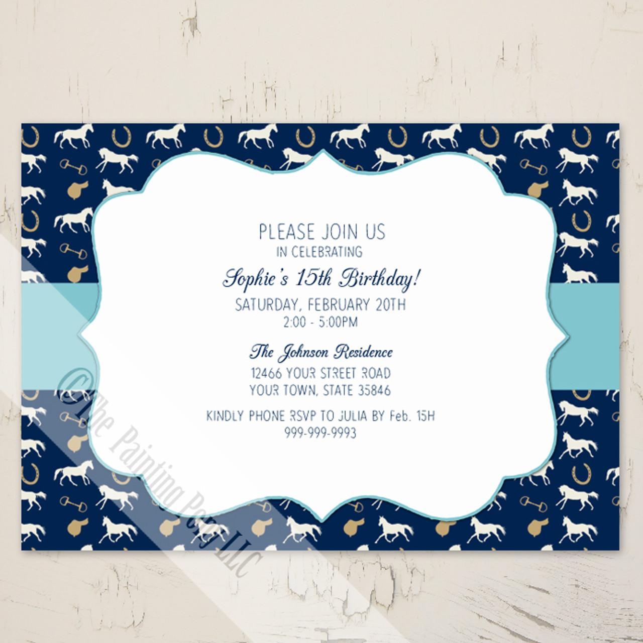 Blue English Horse Pattern Birthday Invitation (10 pk) - The ...