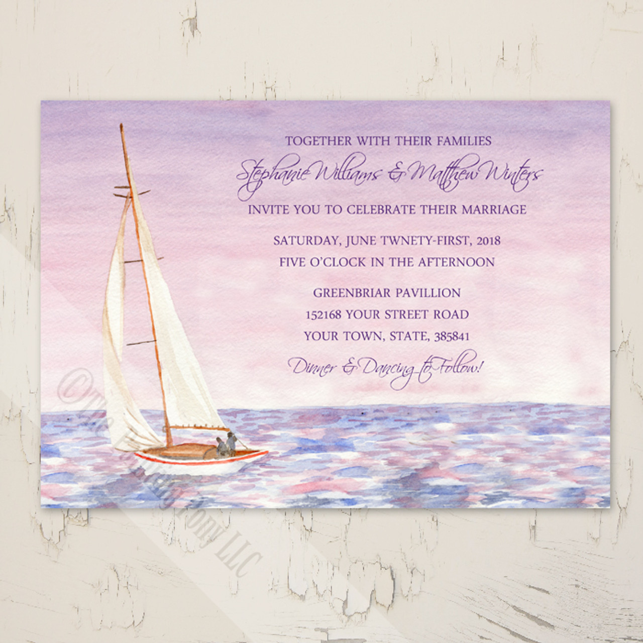Sail Boat Watercolor Nautical Wedding Invitation (10 Pk