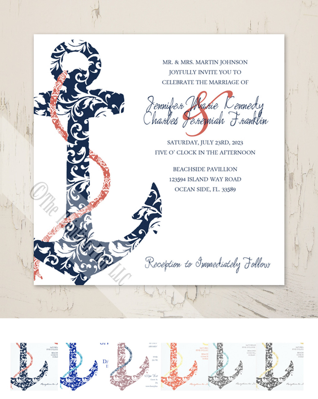 ON SALE Navy and Coral Anchor Wedding Invitation 25pk The