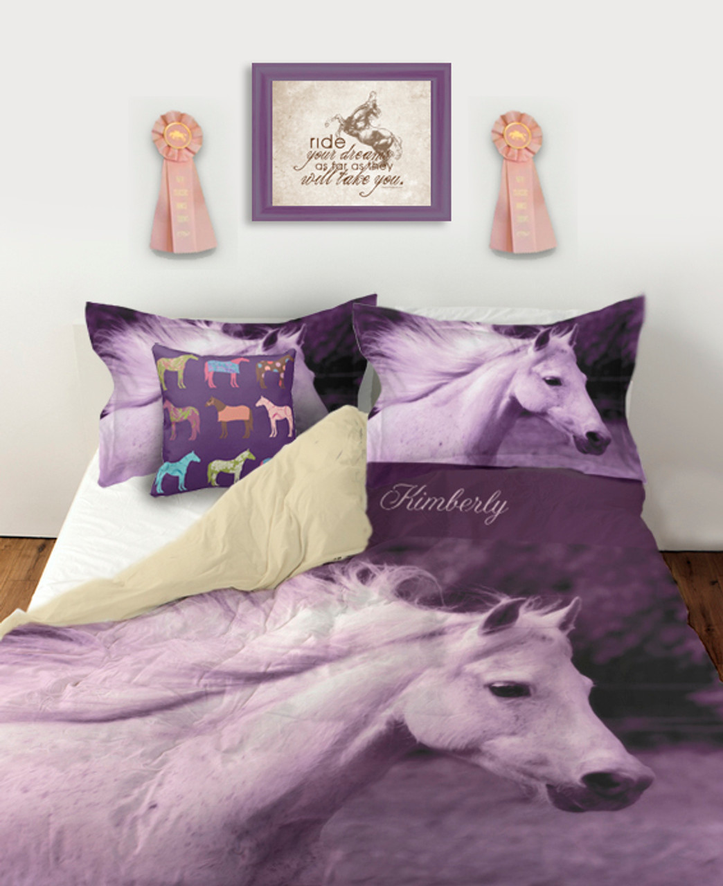 purple colored white horse head duvet bedding cover set for the equestrian little girl who loves - Horses Head Pillow