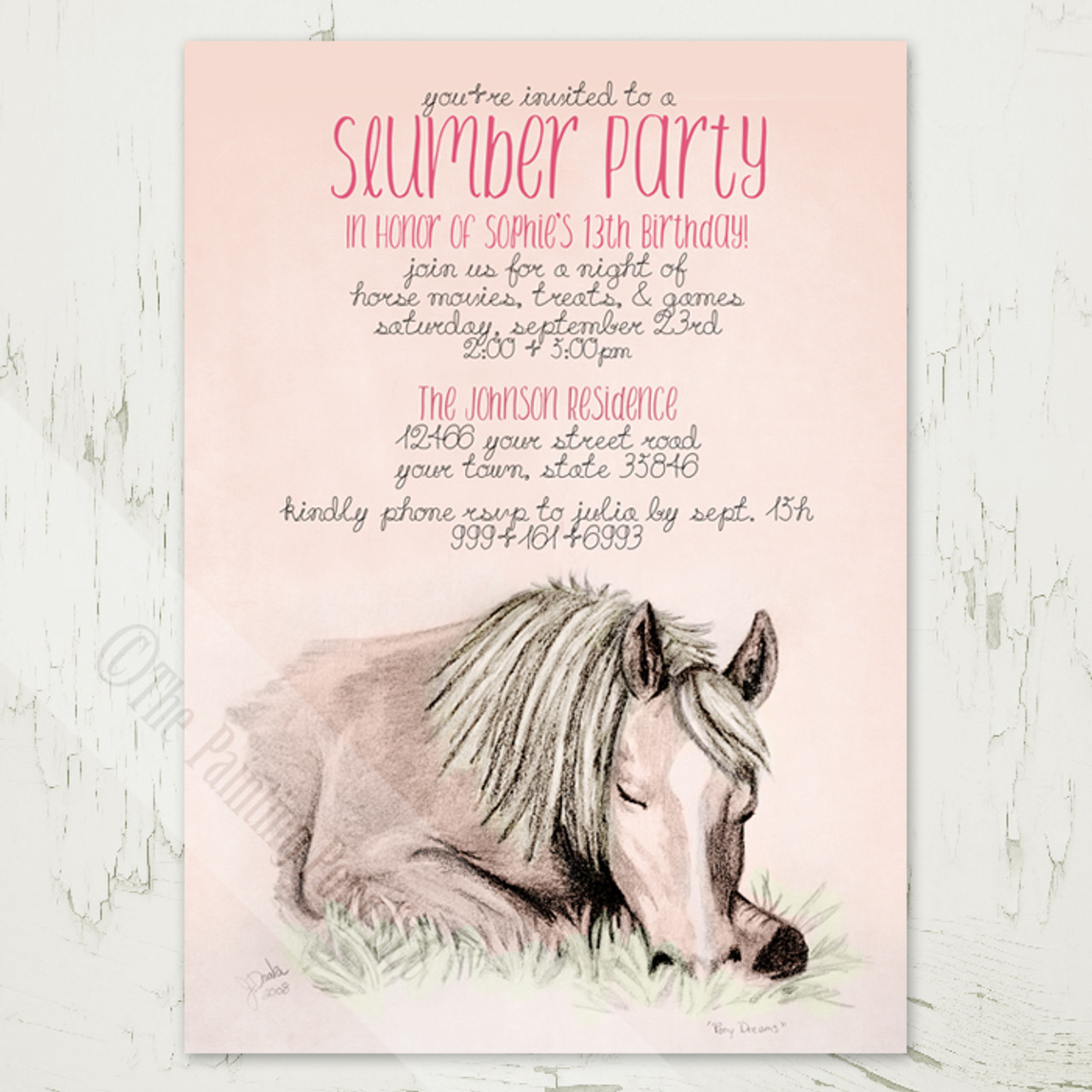 pony dreams slumber party birthday invitation (10 pk) - the, Party invitations