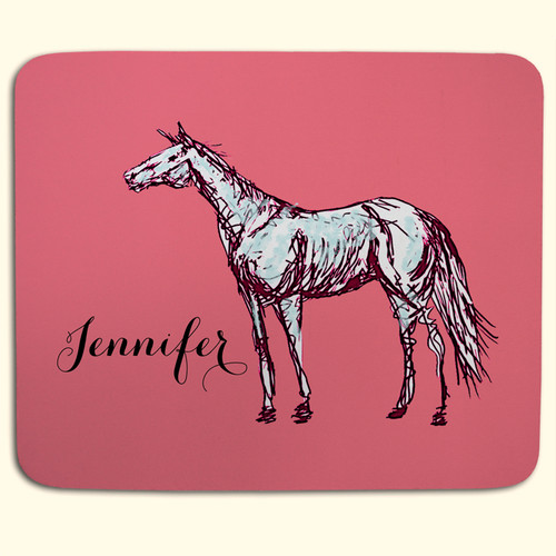 Pink Horse Personalized Equestrian Mousepad