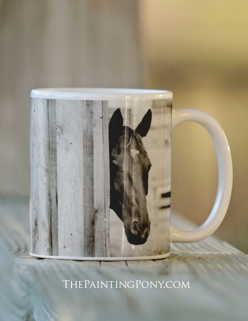 Curious Black Horse Mug