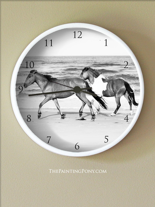 Horses on the Beach Wall Clock
