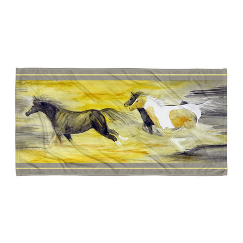 Abstract Galloping Horse Beach Throw