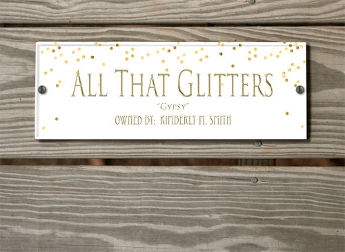 Faux Gold Glitter Personalized Acrylic Horse Stall Name Plate