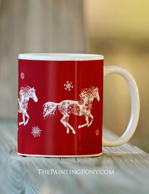 Festive Christmas Snowflake Horse Ceramic Mug