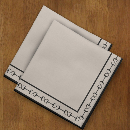 Beige and Black horse bit border cloth napkins