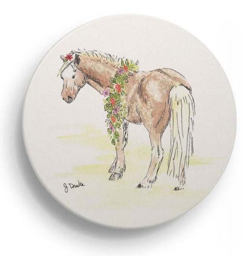 Whimsical Pony Art Sandstone Coasters