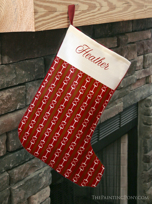 Personalized Equestrian Striped Horse Bits Christmas Stocking