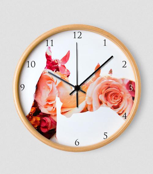Floral Horses Equestrian Wall Clock