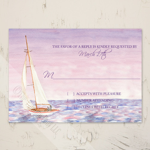 Sail Boat Watercolor Nautical Wedding RSVP card (10 pk)