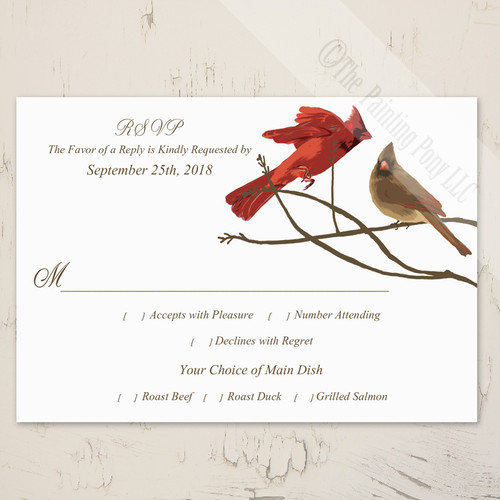 winter cardinal birds wedding response card or rsvp