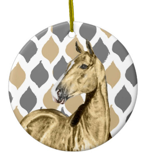 Stylish Buckskin Horse Christmas Ornament