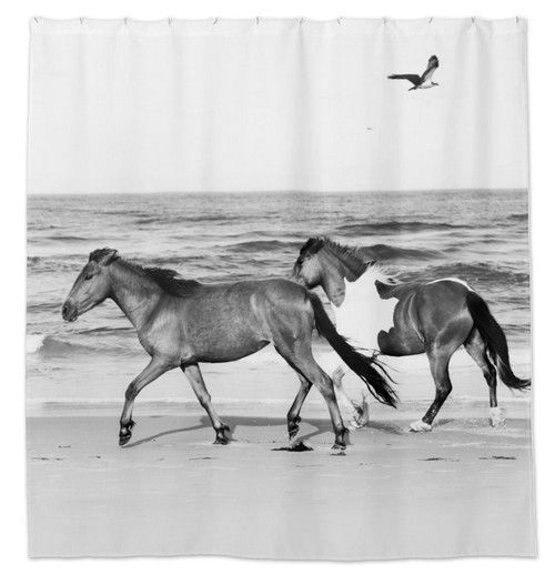 Horses on the Beach Equestrian shower curtain