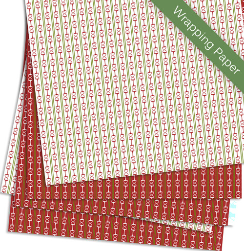 red and green horse bits equestrian Christmas gift wrapping paper