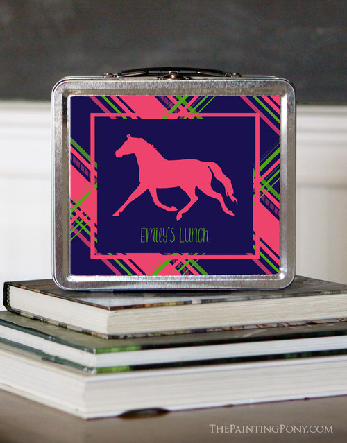 Personalized Pink Plaid Horse Lunch Box