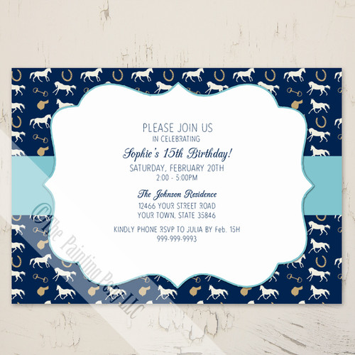 Blue English Horse Pattern Birthday Invitation (10 pk)
