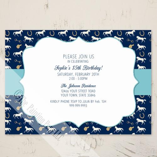 Blue English Horse Pattern Birthday Invitation (10 pk)