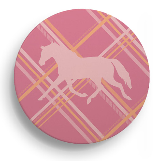 Preppy Pink Plaid Horse Sandstone Coasters