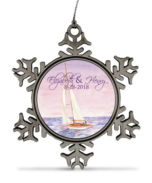 Sail Boat Watercolor Nautical Wedding Anniversay Ornament