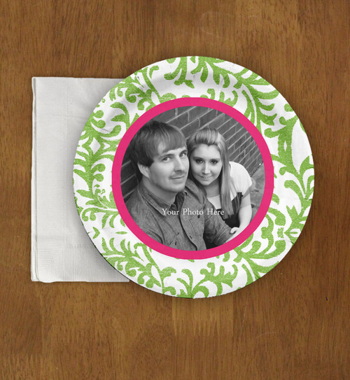 Damask Pattern Wedding Engagement Photo Paper Party Plates (8 pk)