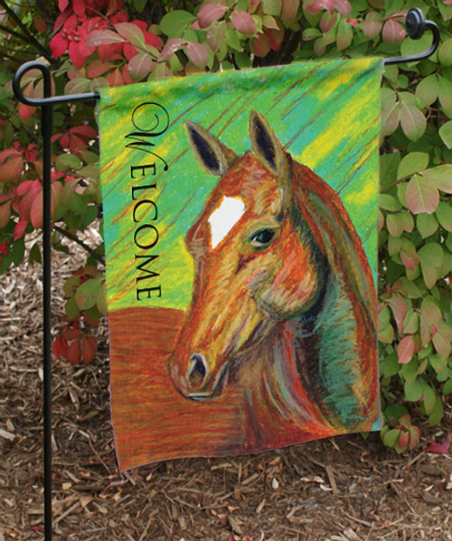 Chestnut Horse Head Equestrian Garden Flag