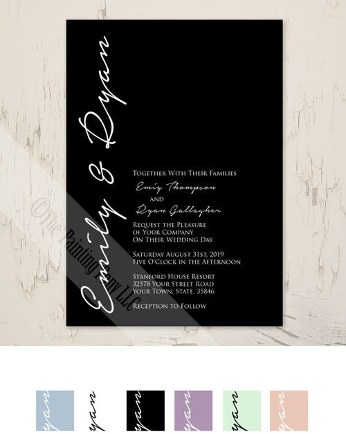 Simple Typography Lavender Wedding Invite