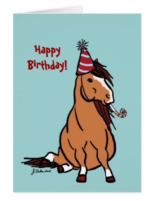Cowboy Party Pony Birthday Greeting Card