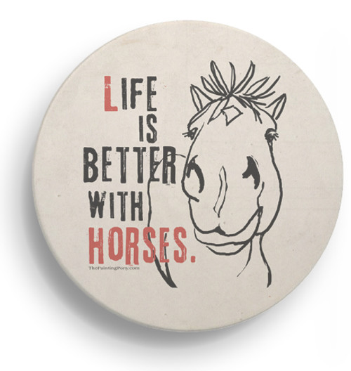Fun Horse Themed Stone Coasters Set