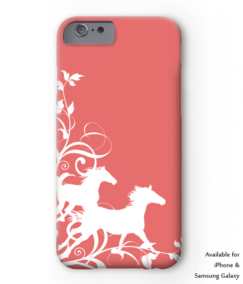 galloping horse phone case in coral pink and white