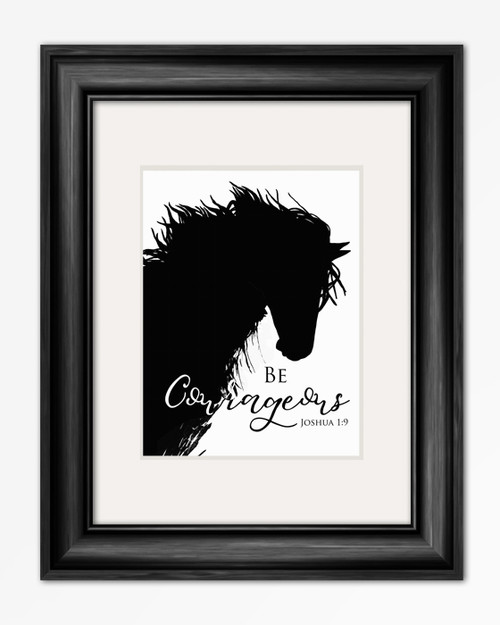 Be Courageous Inspirational Horse Head Art Print