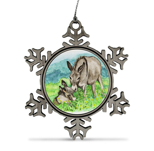 Miniature Donkey Christmas Ornament