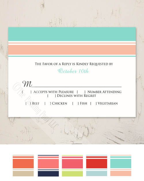 Modern Stripes Wedding RSVP card (10 pk)