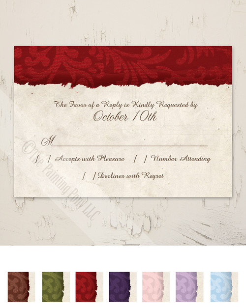 Red and Ivory Country Wedding RSVP card (10 pk)