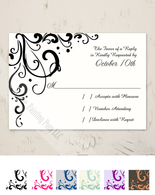 Elegant Flourish Wedding RSVP card (10 pk)