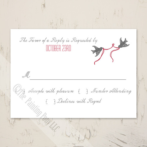 Wedding Chapel and Doves RSVP card (10 pk)