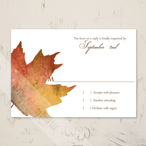 Fall Wedding Maples Leaves Watercolor RSVP card (10 pk)