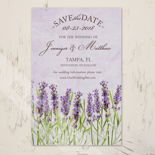 Vintage Lavender Flowers Wedding Save The Date Postcards (25 pk)