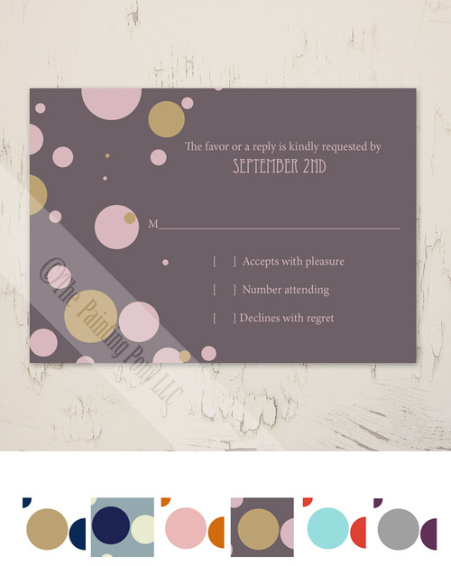 Fun Polka Dots Wedding RSVP card (10 pk)
